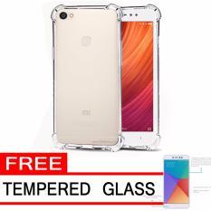 Case Anti Shock / Anti Crack Elegant Softcase  for Xiaomi Redmi Note 5A Prime (Fingerprint) - White Clear + Free Tempered Glass