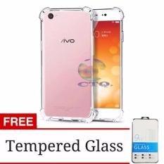 Case Anti Shock Vivo V5 Plus Ultrathin Anti Crack Elegant Softcase Anti Jamur Air Case 0.3mm / Silicone Vivo V5 Plus / Soft Case / Silikon Anti Crack Vivo V5+ / Case Hp + FREE TEMPERED GLASS - Putih Transparant