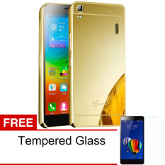 Case Bumper Chrome with Backcase Mirror untuk Lenovo A7000 - Gold + Gratis Tempered Glass