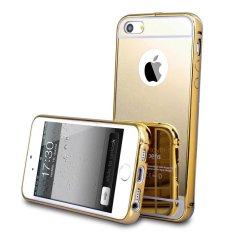 Case Bumper For Iphone 6s 2 in 1 Slide Mirror Backcase Metal Case Cover Aluminium Hardcase Casing Softcase Sliding - Gold