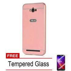 Case Aluminium Bumper Mirror Asus Zenfone Max ZC550KL bumper sleding - pink + Free Tempered Glass