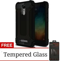 Case Capsule Ultra Rugged For Xiaomi Redmi Note 3 Hybrid Armor TPU Shockproof Anti Slip Soft Back Case / Softcase / Casing Hp + Free Tempered Glass Protection / Anti Gores Kaca - Hitam / Black