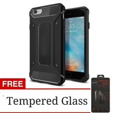 Case Capsule Ultra Rugged Hybrid Armor For Apple iPhone 5G / 5S /5SE TPU Shockproof Anti Slip Soft Back Case / Softcase / Casing Hp + Free Tempered Glass Protection / Anti Gores Kaca - Hitam / Black