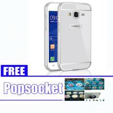 Case chrome Samsung Galaxy g313h ace4 Alumunium Bumper Mirror Sleding samsung g313 ace 4 - silver + free popsocket