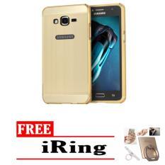 Case chrome Samsung Galaxy g532 j2 prime Alumunium Bumper Mirror Sleding - gold + free iring stand