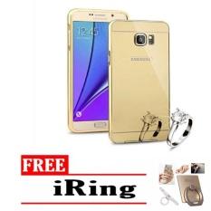 Case chrome Samsung Galaxy s6 edge Alumunium Bumper Mirror Sleding - gold + free iring stand