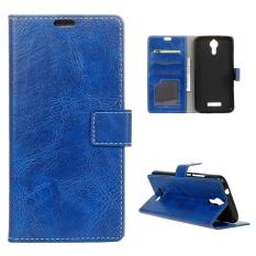 Case untuk Acer Liquid Zest PLUS Kulit Crazy Horse Pola Case Flip Stand Cover-Biru-Intl