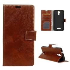Case untuk Acer Liquid Zest PLUS Kulit Crazy Horse Pola Case Flip Stand Cover-Coklat-Internasional