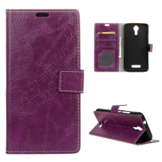 Case for Acer Liquid Zest Plus Leather Crazy Horse Pattern Case Flip Stand Cover - Purple - intl