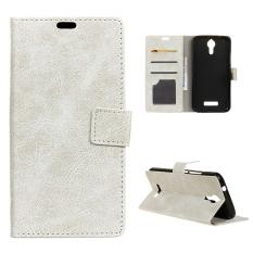 Case untuk Acer Liquid Zest PLUS Kulit Crazy Horse Pola Case Flip Stand Cover-Putih-Intl