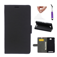 Kasus untuk Alcatel One Touch Flash OT-6042D PU Leather Flip Case   Stand Cover-Hitam