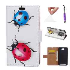Kasus untuk Alcatel One Touch Flash OT-6042D PU Leather Flip Case Stand Cover-Ladybird-Intl