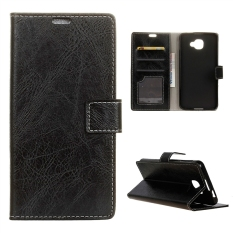 Case for Alcatel OneTouch Idol 4S Leather Crazy Horse Pattern Case Flip Stand Cover - Black - intl