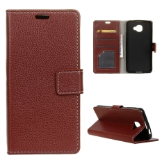 Case for Alcatel OneTouch Idol 4S Leather Flip Cover Wallet Litchi Grain Case - Brown - intl