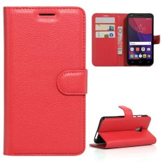 Case For Alcatel OneTouch Pixi 4 5.0 OT5045X 4G PU Wallet Card Slots Magnetic Closure Flip Cover - Red - intl