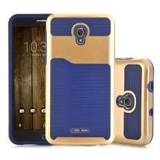 Kasus untuk Alcatel Pop4 Plus Alcatel Fierce 4 Dual Layer Hybrid Armor Shockproof Case Cover-Biru-Intl