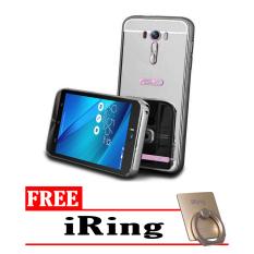 Case For Asus Zenfone 2 Laser 5 Inch Bumper Slide Mirror - Black + Free iRing