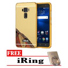 Case For Asus Zenfone 3 ZE520KL Bumper Slide Mirror - Gold + Free iRing
