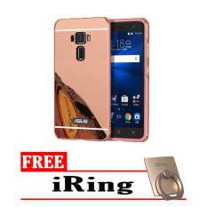 Case For Asus Zenfone 3 ZE520KL Bumper Slide Mirror - Rose Gold + Free iRing