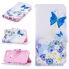 Case untuk HTC Google Pixel Flip Dompet Kulit Magnetic Penutupan Case-Kupu-kupu dan Bunga-Internasional