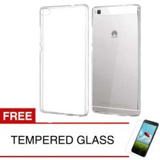 Case for Huawei P8 - Clear + Gratis Tempered Glass - Ultra Thin Soft Case