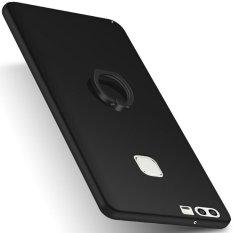 Case untuk Huawei P9 PLUS Cincin Rotasi Grip Ultra Slim Fit Hard PC Snap-On Back Case-Hitam -Intl