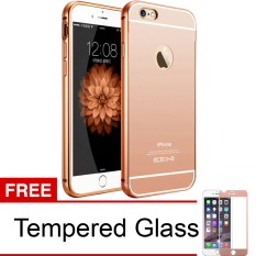 Case For Iphone 6 Bumper Chrome With Backcase Mirror Slide - Rose Gold + Free Tempered