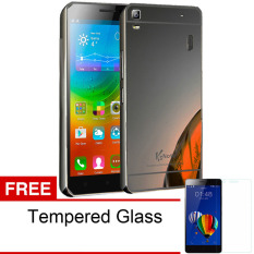 Case For Lenovo A7000 / A7000+ Bumper Slide Mirror - Black + Free Tempered Glass