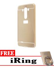 Case for LG G3 Aluminium Bumper With Mirror Backdoor Slide - Gold + Free iRing