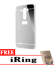 Case for LG G3 Aluminium Bumper With Mirror Backdoor Slide - Silver + Free iRing