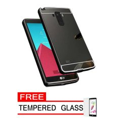 Case For LG G4 Stylus Bumper Slide Mirror - Black + Free Tempered Glass