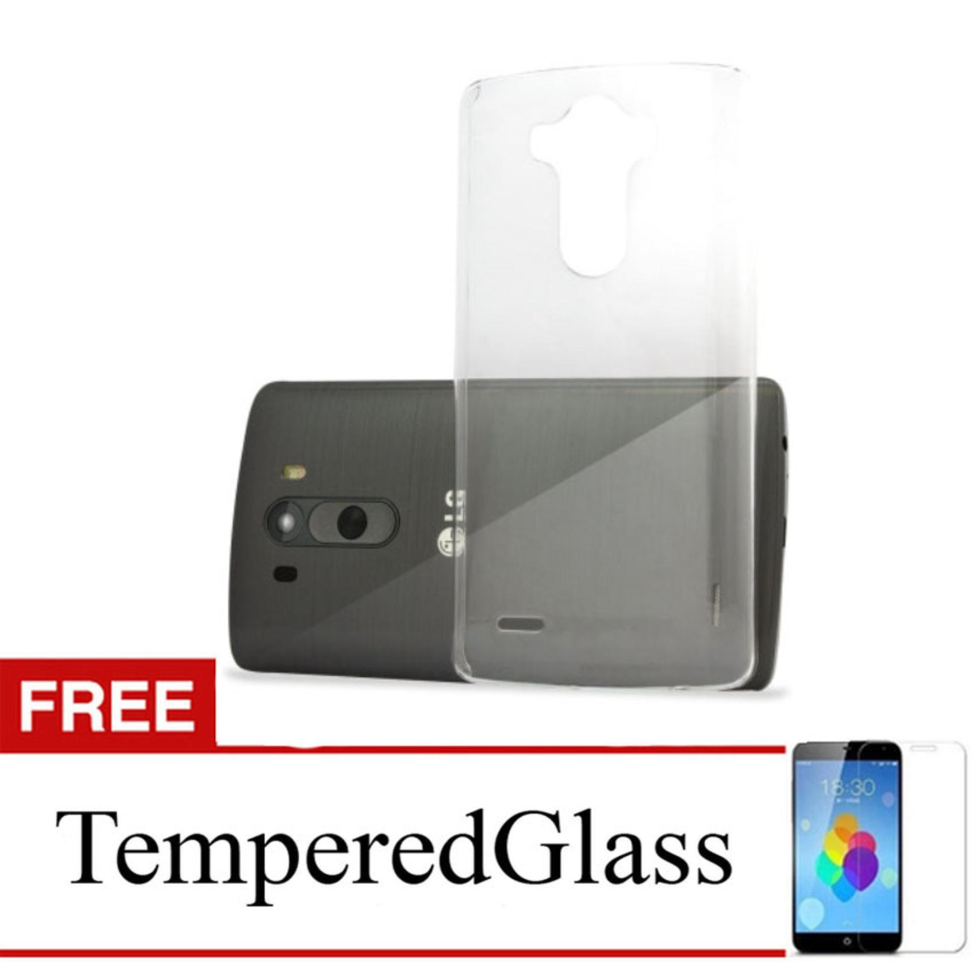Case for LG K10 2017 / M250 - Clear + Gratis Tempered Glass - Ultra Thin Soft Case