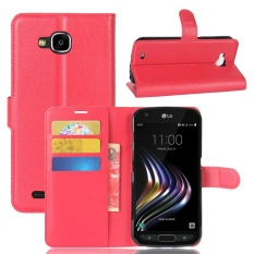 Case untuk LG X Venture Litchi Grain Leather Wallet Case (Merah)-Intl