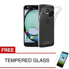Case for Motorola Moto  Z Play / XT1635 - Clear + Gratis Tempered Glass - Ultra Thin Soft Case
