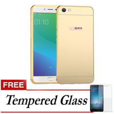 Case For Oppo F1s / A59 Bumper Slide Mirror - Gold + Free Tempered Glass