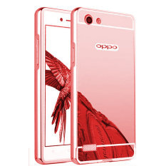 Case for Oppo Neo 7 (A33T) Alumunium Bumper With Mirror Backdoor Slide- Rose gold