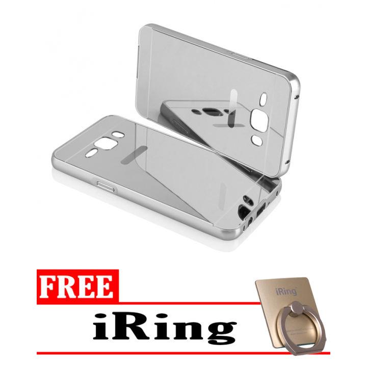 Case For Samsung Galaxy J5 2016 Bumper Slide Mirror - Silver + Free iRing