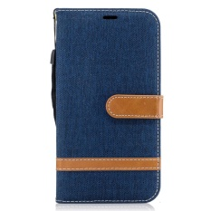 Case untuk Samsung Galaxy J5 (2016) Premium Kulit Dompet Cover Folio Kasus Pelindung Shell Dompet Smartphone Stand Kickstand Kelas Tinggi Sederhana Denim Gaya Skin Covers- INTL