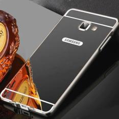 MR Case Samsung Galaxy J7 Prime Alumunium Bumper With Sleding Mirror Back Case - Hitam