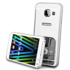 Case For Samsung Galaxy J7 Prime Bumper Slide Mirror - Silver + Free Tempered Glass