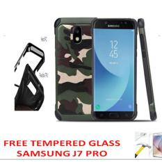 Case For Samsung Galaxy J7 Pro 2017 2 in1 Army Camo Camouflage Pattern PC+Silicone Armor Anti-knock Protective Back Cover Cases - Hijau + Free Tempered Glass