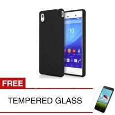 Case for Sony Xperia M4 Aqua / E2303 - 4.6 inch - Slim Soft Case - Hitam Solid + Gratis Tempered Glass