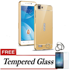 Case for Vivo Y35 Aluminium Bumper With Mirror Backdoor Slide - Gold + Gratis Tempered Glass