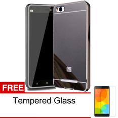 Case For Xiaomi Mi4C Bumper Slide Mirror - Black + Free Tempered Glass