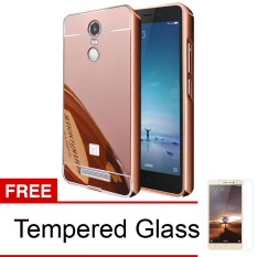 Case for Xiaomi Redmi Note 3 Pro Aluminium Bumper With Mirror Backdoor Slide - Rose Gold + Tempered Glass