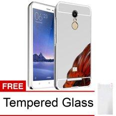 Case for Xiaomi Redmi Note 3 Pro Aluminium Bumper With Mirror Backdoor Slide - Silver + Tempered Glass