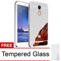 Case for Xiaomi Redmi Note 3 Pro Aluminium Bumper With Mirror Backdoor Slide - Silver + Tempered Glass