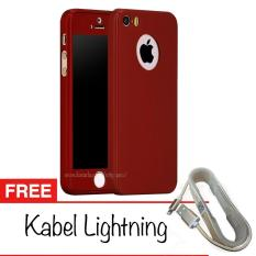 Case Front Back 360 Degree Full Protection for Apple iPhone 5 /5s /SE + Tempered Glass + Gratis Kabel Lightning