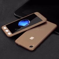 Case Front Back 360 Degree Full Protection for Vivo V3 - Gold + Tempered Glass