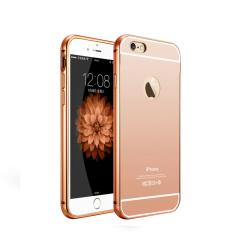Case iphone 5-5s Alumunium Bumper With Mirror Backdoor Slide - Rose gold